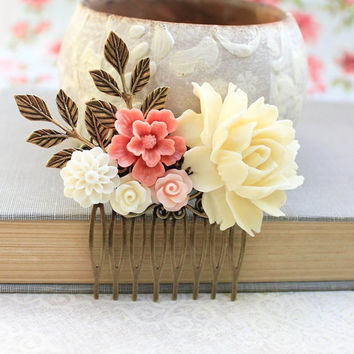 Rose Comb Light Yellow Cream Flower Comb Wedding Accessories Shabby Floral Comb Country Chic Bridal Hair Bridesmaids Accessories Gifts