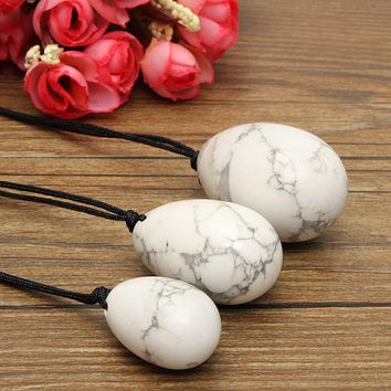 3PCS/set White Howlite Crystal Eggs Yoni Egg Massage Handball Massager Ball for Exercise Health Care Massage Gemstone Pendant