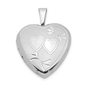 Sterling Silver 16mm D/C Double Hearts Heart Locket