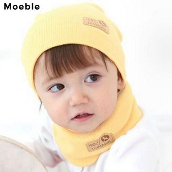 Moeble Spring Autumn Winter Baby Cap Girls Boys Children Knitted Hat and Scarf Set Kids knit hat with scarf set 6 colors H346B