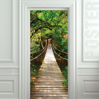 Door STICKER bridge suspended pendant pendulous suspension mural decole film self-adhesive poster 30x79inch(77x200 cm)