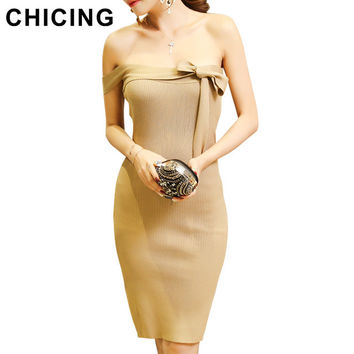 CHICING Off Shoulder Bodycon Knitted Dresses Women 2016 Fall Winter Bow Ties Two Ways Wear Basic Package Hip Midi Dress B1608099