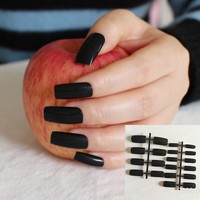 Candy Black Shiny Fake Nails Flat Ultra Long Acrylic Nail Tips Pure Full Wrap Easily Use With Glue S22-B Finger Press-On Nails