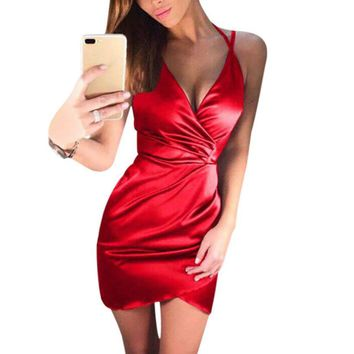 Women Sexy Solid V-neck Crossed Front Mini Dress summer sexy Dress women dress for women women's dresses in big sizes
