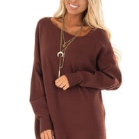 Red Bean Long Sleeve Cold Shoulder Top with Banded Hem