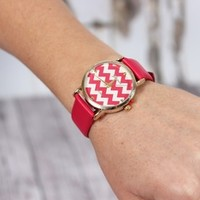 Red / Pink Chevron Face Watch - Modern Vintage Boutique