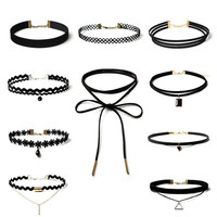 Punk Black Velvet Choker Necklace Women Lace Collar Neckband Necklaces Chokers Kolye Chocker Collares Mujer Jeffreeing Star