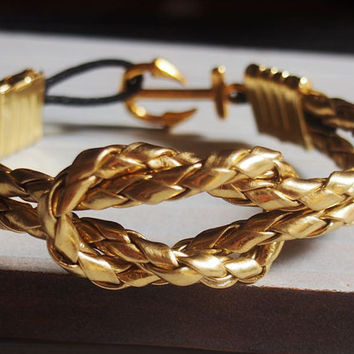 Gold Nautical Bracelet men, Gold Anchor bracelet, knot bracelet anchor, gold mens anchor bracelet, mens gold bracelet gold anchor bracelet