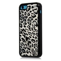 iPhone 5C Case, iSee Case (TM) Leopard Print Faux Leather TPU Full Cover Protective Case for Apple iPhone 5C (5C-TPU Leopard Black)