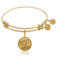 Expandable Bangle in Yellow Tone Brass with Class Of 2016 Graduation Cap Symbol