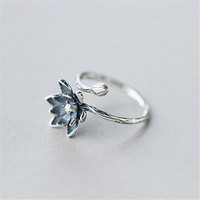 Blue Lotus Flower 925 Silver Open Ring Women Retro Style Lady Prevent Allergy