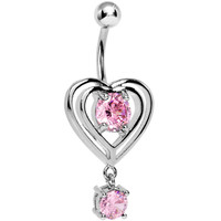 Pink Gem Heart Skipped a Beat Belly Ring | Body Candy Body Jewelry