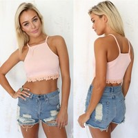 New Women Sexy Spaghetti Strap Lace Hem Crop Top Tank Top