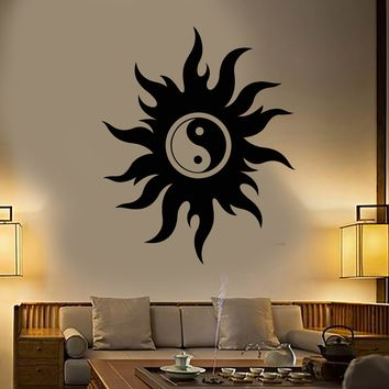 Vinyl Wall Decal Yin Yang Symbol Buddhism Yoga Religion Stickers Unique Gift (1677ig)