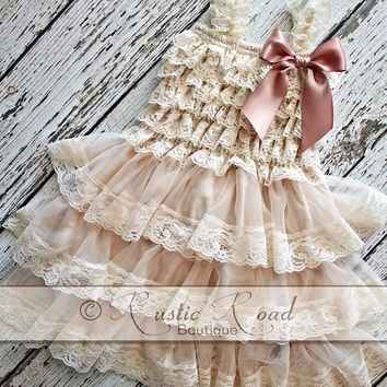 Rustic Flower Girl Dress: Lace Ruffle Dress -- PICK BOW COLOR -- Vintage Rustic Wedding Dress, Baby Girl Birthday, Rustic Lace Dress, 6m-9yr