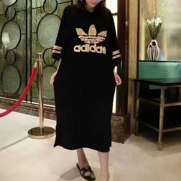 ADIDAS Fashion Logo Sequins Casual Short Sleeve Loose Long Dress G-A-XYCL