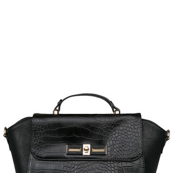 Nila Anthony Croc Top Handle Handbag
