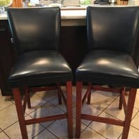 Set of (2) Leather Bar/Kitchen Stools