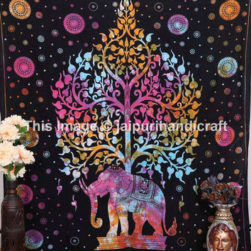 Queen Tree of Life Tapestry, Indian Elephant Tapestry, Tie Dye Tree- Elephant Tapestry, Indian Tapestry, Tie-dye Tapestry, floral bedding