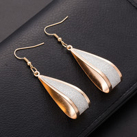 Brincos longos dangle para mulheres Silver/Gold Crystal Scrub Drop Hook Earrings Long earring Pendientes For Women