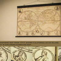 Double hemisphere map 1717, Explorers, Decor for captains and pirates, California an island, Canvas pull down frame, Antique wood, Nautical