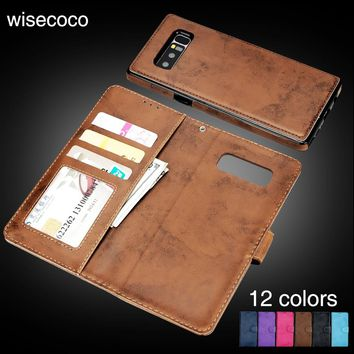 Wisecoco Luxury Retro Magnetic Detachable Leather Card Back Cover Wallet Phone Case