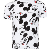 WHITE MICKEY MOUSE FACE T-SHIRT - Men's T-shirts & Vests - Clothing - TOPMAN