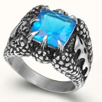 Men Size 7 8 9 10 11 12 13 14 15 Stainless Steel Dragon Claw Vintage Biker Blue Sapphire Stone Crystal Ring Punk Skull Bone