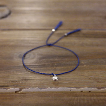 Minimal Modern Friendship Skinny Thin 100% Silk Thread Cord 925 Genuine Sterling Silver Tube Star Facet Beads Bracelet Tassel Blue Gift (Anthropologie)