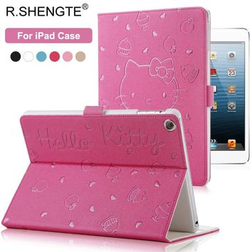"Hello Kitty Pattern Smart Case For iPad 2017 2018 9.7"" New Tablet Stand Filp Case for iPad 2 3 4 5 6 Air 1 2 Mini 1 2 3 4 Cover"