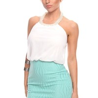 WHITE MINT CHIFFON HALTER FAUX PEARL NECK DRESS