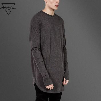 ca qiyif Thumb Hole Cuffs Long Sleeve Tshirts