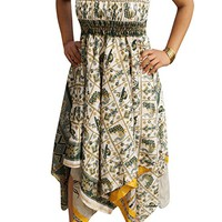 Mogul Interior Flora Womens Halter Dress Handkerchief Hem Recycled Sari Summer Resort Fashion Sundress S/M