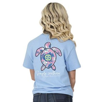 "Youth Simply Southern Turtle ""Hibiscus"" Short Sleeve Tee"