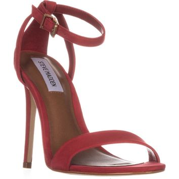 Steve Madden Lacey Ankle Strap Sandals, Red, 7.5 US