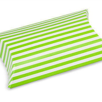 Striped Pet Pillow Boxes Favor, 3-nch, 12-pack, Green/White