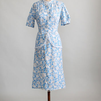 Vintage 1930s Blue and White Floral Day Dress