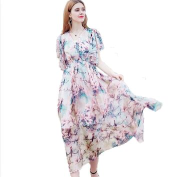 Printed Floral Maxi Dress Chiffon Vintage Short Sleeve Elegant Summer Long Dress Women Fashion Open Back