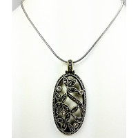 Flower Pendant Necklace Faux Marcasite Crystal Silver Plated Snake Chain n485
