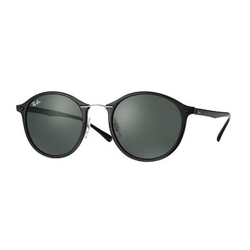 Ray Ban Round Light-Ray Sunglasses Black with Green G15 Lenses RB 4242 601/71