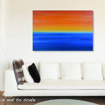 Large Original Abstract Beach Ocean Sunset Sunrise Acrylic Canvas Painting Art - Orange, Yellow, Red, Blue - HUGE 36 x 24- FREE SHIPPING