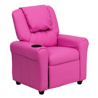Contemporary Hot Pink Vinyl Kids Recliner with Cup Holder and Headrest