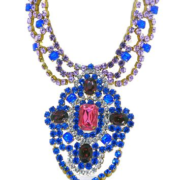 Bijoux MG Blue and Purple Czech Glass Necklace Earring Set