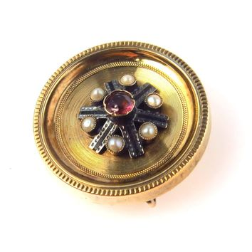 Gold Filled Victorian Garnet Chatelaine Pin or Pendant