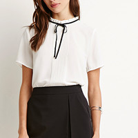 Ruffled-Neck Pintuck Blouse