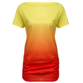 Casual Scoop Neck Ombre Print Pleated T-shirt for Women