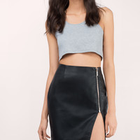 Fever Faux Leather Zipper Skirt