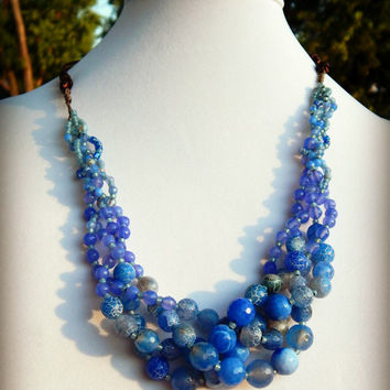 Periwinkle Blue Statement 4 Braid Agate and Jade Beaded leather necklace