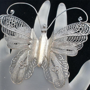Antique Butterfly Sterling Silver Brooch Signed Figural  Filigree Pin Art Deco
