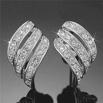 ANGEL WINGS Swarovski Elements Crystal White Gold Plated Stud Earrings-FREE SHIPPING